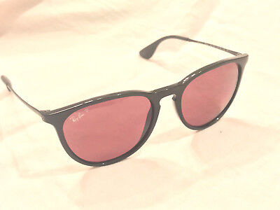 2512910601309 Authentic Ray-Ban Erika Sunglasses 4171 Black with Polarized Purple Flawless