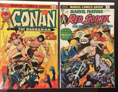 Marvel Feature #1 VG/FN & Conan #44 VG Featuring Red Sonja! Marvel Bronze Age
