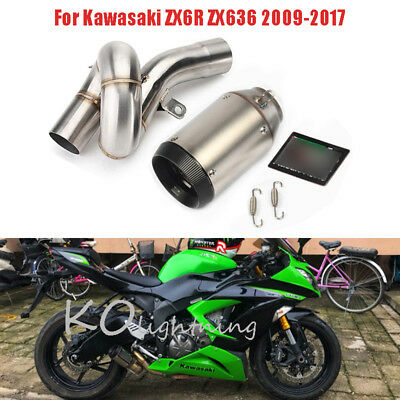 Motorcycle Carbon Fiber Exhaust Pipe Mid Link Pipe For Kawasaki ZX6R ZX636 09-17