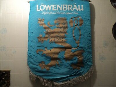 Rare Vintage 70s Lowenbrau Beer Flag by Miller Brewing Company