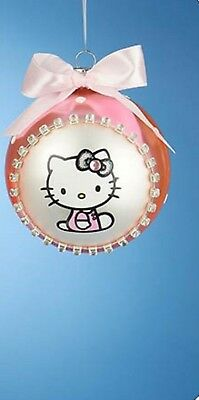 Hello Kitty NEW * Pink Glass Ball Ornament * Christmas Holiday Ribbon Licensed