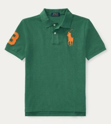 Nwt Polo Ralph Lauren Toddler Boys Green Heather Big Pony Rugby Shirt