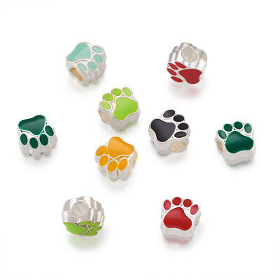 40pcs Colorful Alloy Enamel European Beads Dog Paw Print Large Hole Charms 11mm
