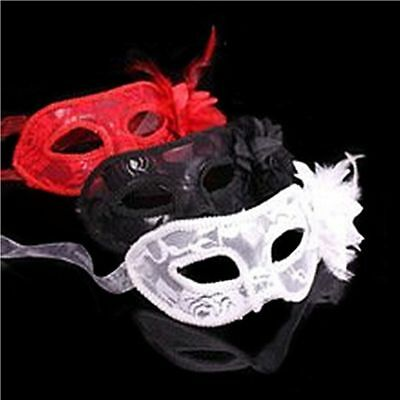 Feather Party Ball Lace Flower Carnival Eye Mask Fancy Venetian Masquerade BL3