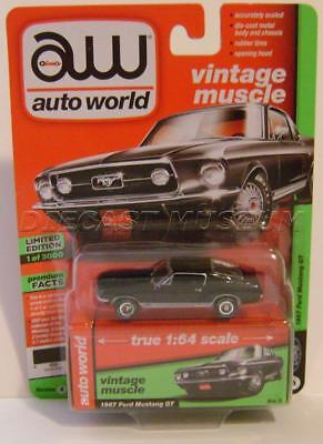 1967 '67 Ford Mustang Gt Black Vintage Muscle Aw Auto World Diecast 2018