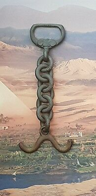 viking Bronze BOW amulet with CHAIN AND DECORATED LOOP