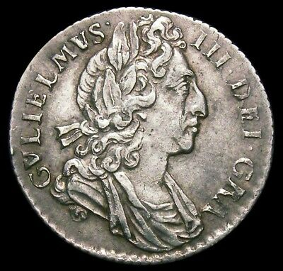 1699 William III Sixpence (Plumes in angles) LCGS Slabbed coin (Rare)