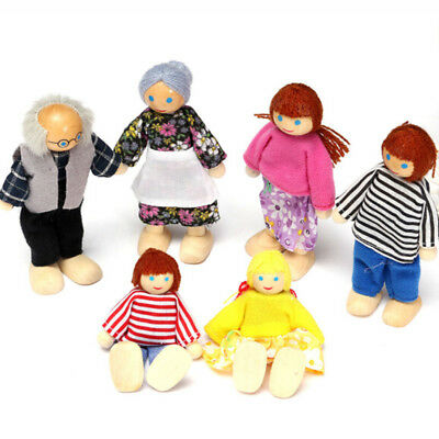 New Doll House Family Dolls Small Wooden Toy Set Figures Dressed Toys Grils Gift