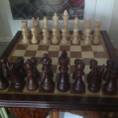 Vintage Large Piece Wooden Chess Set