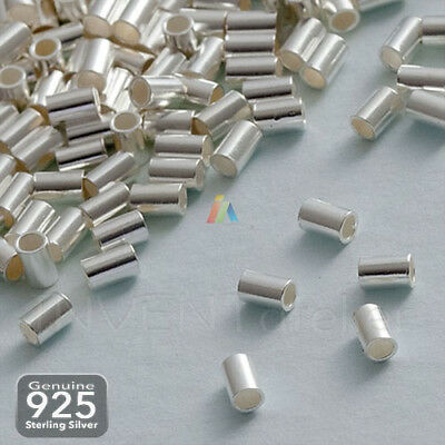 925 STERLING SILVER TUBE CRIMP 3x2mm STOPPER BEADS FINDINGS  HIGH QUALITY