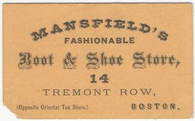 19th Century Boston Shoe & Boot Store Business Card - Mansfield's