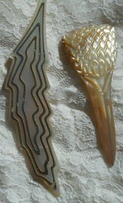 2 beautifully engraved antique mother of pearl hair decorations, pieces or trims