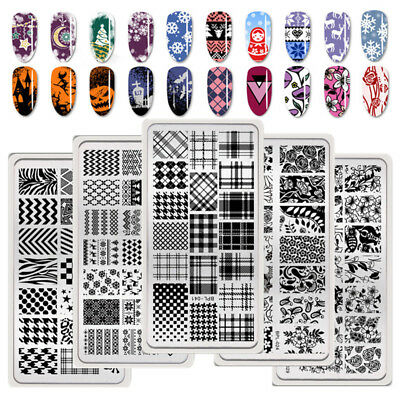 BORN PRETTY Nail Art Stamping Plates Christmas Halloween Geometry Rose Templates