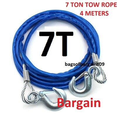 7 Ton 4M Car Tow rope Metal Towing Pull Rope Strap Hooks Van Road Recovery