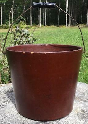 Antique United Indurated Fibre Company Portland Me Fire Water Milk Pail Bucket