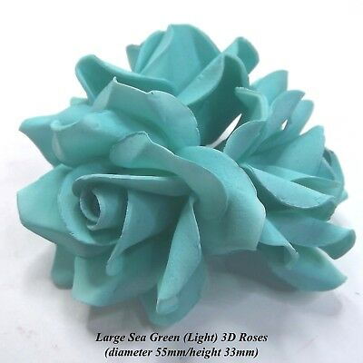 Turquoise Blue Sugar Roses 3D wedding flowers cake decorations 55mmNON-WIRED