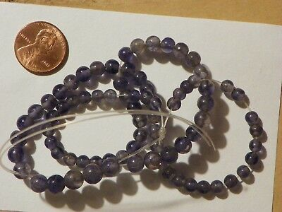 Blue Iolite Loose Beads String Graduated 4.71 to 7.31 MM. 16 Inches