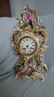 8 day French Antique Porcelain Mantel Clock