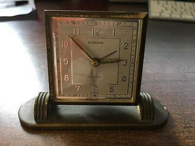 Vintage Art Deco EUROPA travel alarm clock. Works Well! Have A Look!