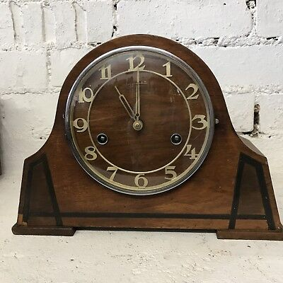 Beautiful Art Deco German Baller Mantle Clock - 8 Day - Fully Working