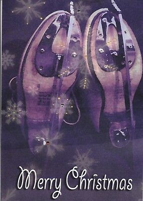 BRAND NEW Large Ice Skating Christmas Cards Pack of 5 Skates