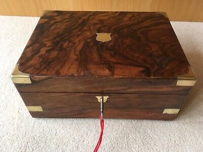 Antique Walnut Writing Slope with brass inlay and working lock and key.  VGC