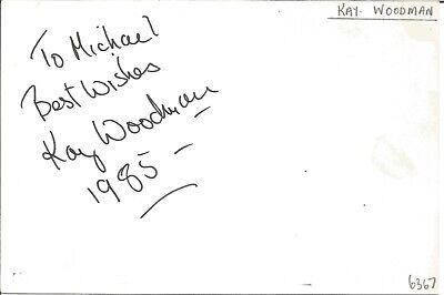 Kay Woodman actress signed white card dedicated in person autograph Z3657