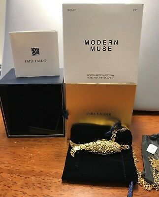Estee Lauder Modern Muse Golden Articulated Fish Solid Perfume Necklace