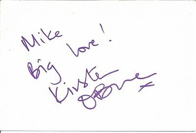 Kirsten O'Brien actress signed white card dedicated in person autograph Z3678