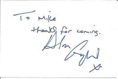 Alan England actor signed white card dedicated in person autograph Z3687
