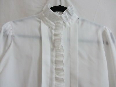 VTG IT'S GAILORD Womens White Polyester Front/Collar Ruffle Long Sleeve Blouse 8