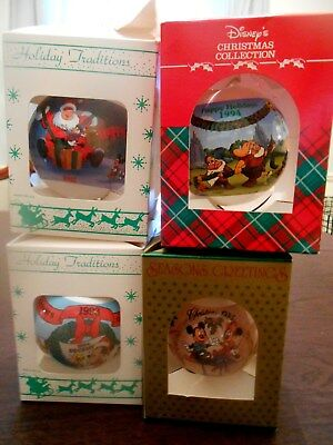Disney Characters Holiday Christmas Tree Ornaments Original 4 Boxes 1992-1995