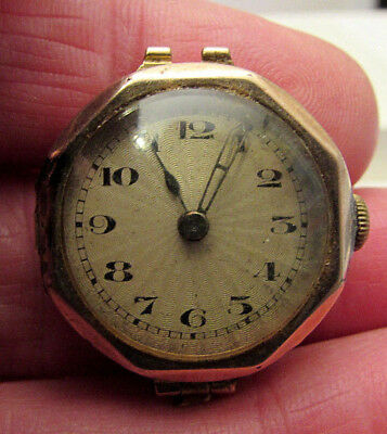 9ct Gold Cased  Art Deco 15J Swiss Made Ladies Watch -Fair Condition/Not Running