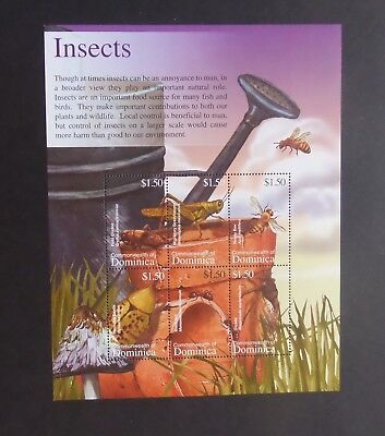 Dominica 2002 Fauna Insects cricket bee SG3253/8 sheetlet UM MNH unmounted mint