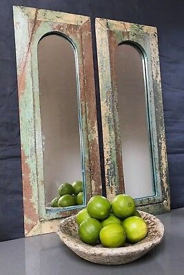 Antique/vintage Indian. Large Pair. Mughal Temple Mirrors. Jade, Magnolia & Grey