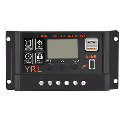 50A Solar Panel Controller Battery Charge Regulator 12V/24V Auto With DualUSB TC