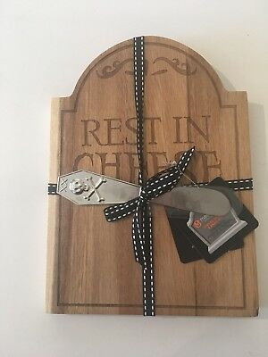 Wooden Tomb stone Rest In Cheese Board & Knife Set Goth Halloween Spooky Grave