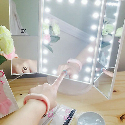 Led Lighted Touch Screen Trifold Makeup Mirror Tabletop Cosmetic Vanity Tri Fold