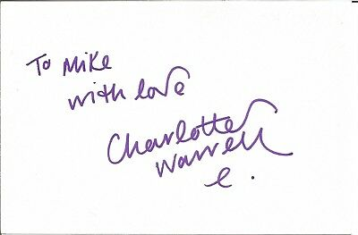 Charlotte Warren actress signed white card dedicated in person autograph Z3720