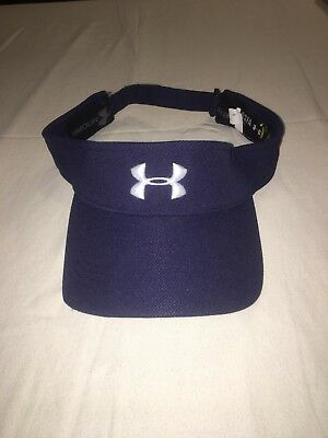 NEW Under Armour OSFA Heat Gear Blue White Letter Adjustable Golf Visor b69bc8cb65dc