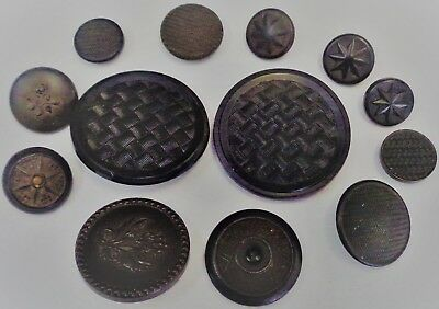 "Lot of 13 Antique Goodyear Pressed Rubber Buttons 1/4"" to 1 1/2"" Diameter"