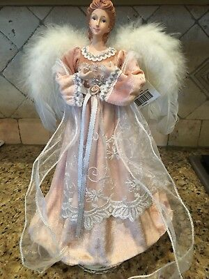 Angel Christmas Tree Topper OR Table Centerpiece PEACH Velveteen Lace Feather