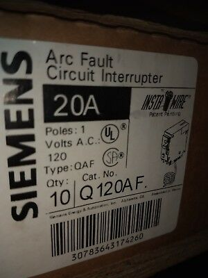 Siemens Q120AF 20amp Arc Fault Breakers case of 10. Brand New Free Shipping