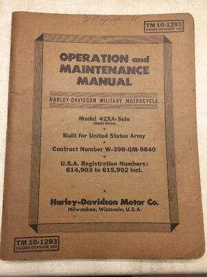 1942 XA Harley-Davidson Service Manual ~ Government Contract ~ WWII