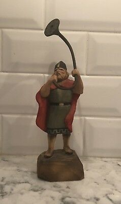 Rare Vintage Henning Norway Handcarved Wood Viking With Large Horn