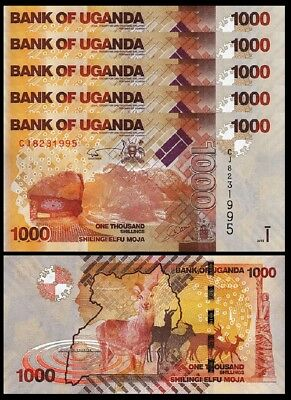 Uganda, 1000 Shillings, 2015, Unc 5 Pcs Lot, Consecutive, P-49c