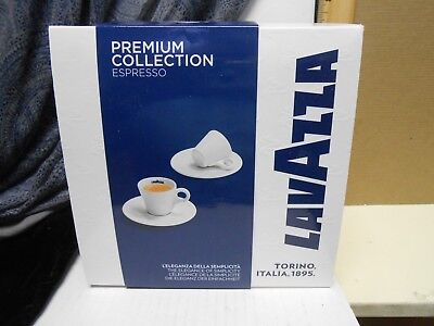 Set of 2 LavAzza Italy Porcelain  Espresso Cups & Saucers Set White  Blue Logo
