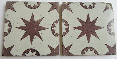 2 Antique Manganese Delft Dutch Tiles Star Pattern