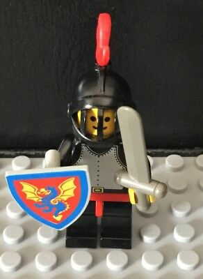 Black Knight Red Plume 6085 6073 1584 6060 Dragon Shield Castle Lego Minifigure