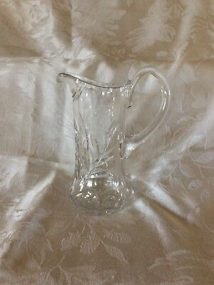 Antique/Vintage Crystal Cut Glass and etched, rose, 12 oz Cream Pitcher/Creamer
